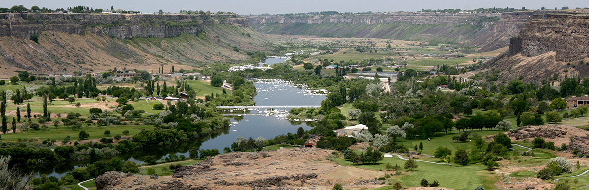 Looking west down the Snake River Canyon from Perrine Bridge in Twin Falls, Idaho [source: Wikipedia]